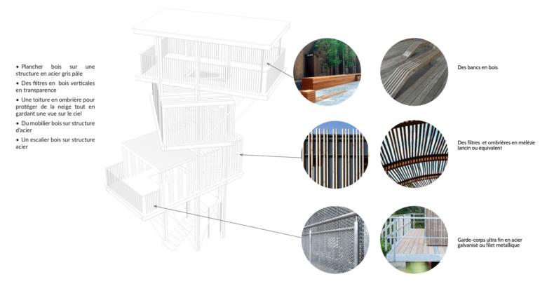 Une structure bois et acier est préconisée pour la tour d'observation
